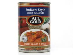 ALL GOLD INDIAN STYLE DICED TOMATOES CURRY LEAVES AND SPICES
