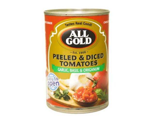 all gold peeled and diced tomoatoesBasilGarlicAndOriganum