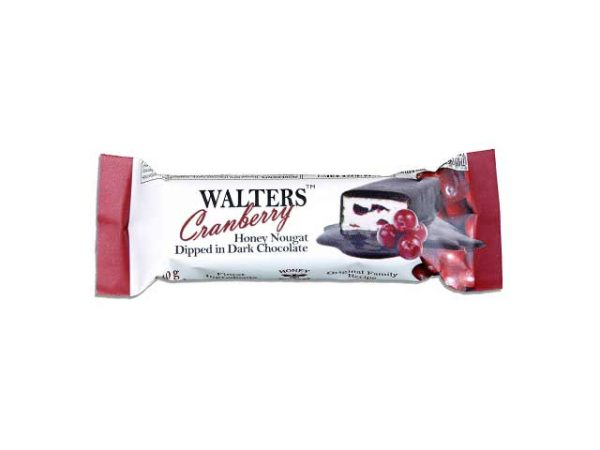 walters honey nougat dipped in dark chocolate cranberry